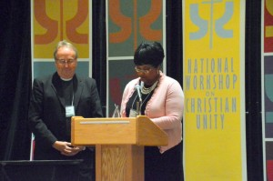 The Rev. Lisa Lewis-Balboa received the Jeffrey Gros Award for Ecumenical Excellence, on behalf of the family of the late Bishop Thomas L. Hoyt Jr., Senior Bishop of the African Methodist Episcopal Church. Lisa is a leader in the African Methodist Episcopal Church and a member of the National Planning Committee of the NWCU.