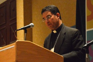 Bishop Oscar Cantu, Roman Catholic Bishop of Los Crucus, New Mexico, took part in a discussion of the Church and Immigration Reform.